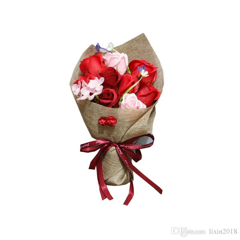 크리 에이 티브 수제 해바라기 장미 카네이션 비누 꽃 인공 꽃다발 결혼식 장식 30 * 20 * 10cm 축제 용품