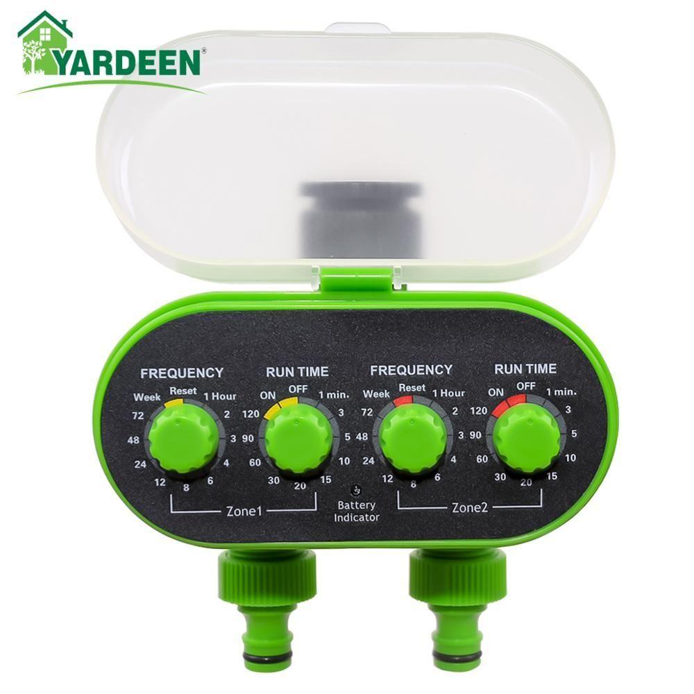 Automatische Kugelhahn-Hahn-Wasser-Timer Zwei Outlet Elektronische Batteriebetriebene Gartenwasserdichtes Bewässerungssteuerung Grün T200530
