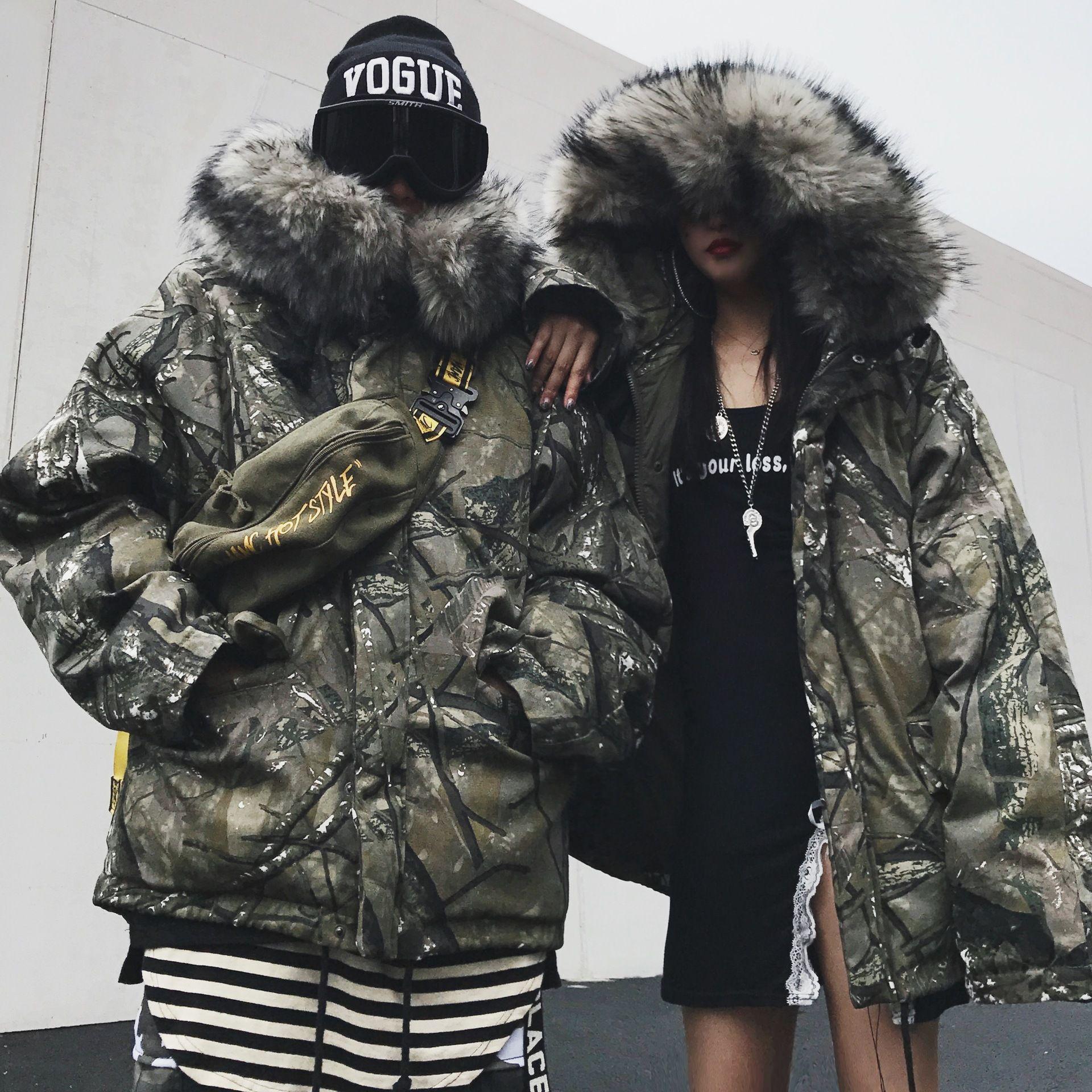 남성 겨울 대형 모피 칼라 후드 누비 위장 잎 인쇄 지점 잉크 패턴 남성 / 여성 커플 느슨한면 자켓