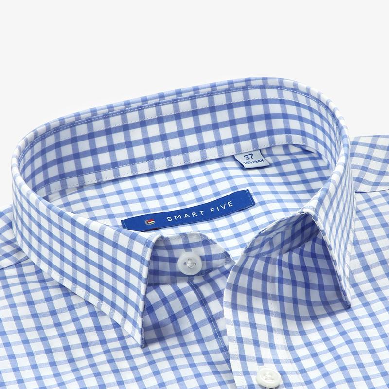 Akıllı Beş Ekose Gömlek Erkekler Business Akıllı Casual Pamuk Uzun Kollu Erkek Gömlek Slim Fit Camisa Masculina Boyut 44 45 46