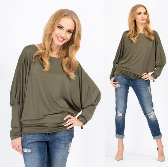 fashion women's new bat sleeve large size loose shirt round neck T-shirt solid color casual long-sleeved blouse