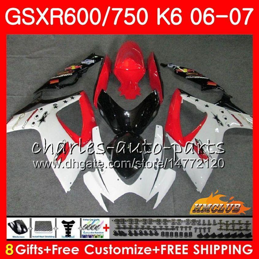 Suzuki GSX R600 GSX-R750 GSXR-600 GSXR600 06-07 8HC.69 GSX R750 GSXR 600 750 06 07 K6 화이트 레드 핫 GSXR750 2006 2007 Fairing Kit
