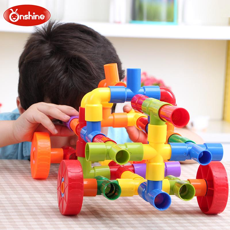 Puzzle plastic collage tile-type pipe building blocks children's collage toys 3 years and older Children's Day gifts