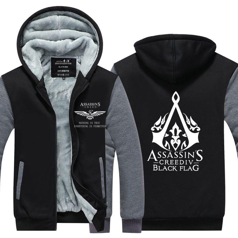 sweat à capuche Assassin 's Creed Thicken polaire coton manteau en cachemire Sweats à capuche Veste Zipper super chaude Sweat à capuche Sport Taille de l'UE
