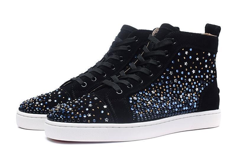 Hot Sale-ers Party Glitter Hommes Femmes Lovers rivet véritable décontracté en cuir Sneaker36-46