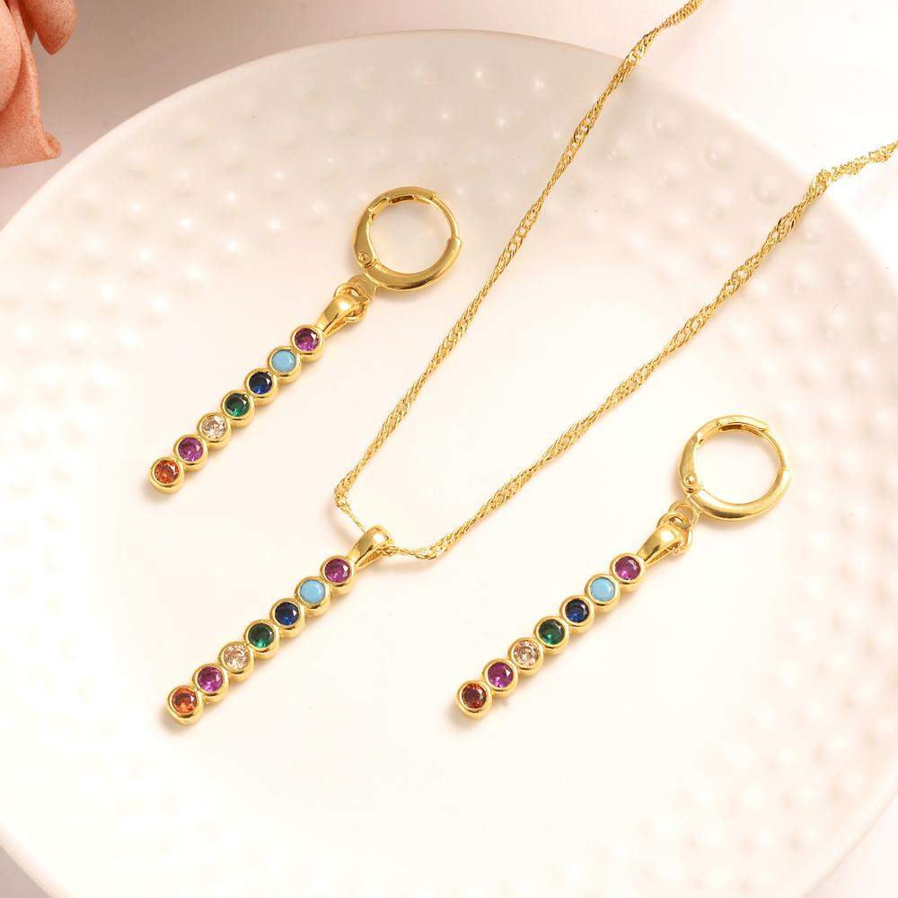 Великолепный кулон ожерелье серьги полосы Fine таиландского бата Solid Gold GF CZ свадебный комплект ювелирных изделий рождества подарка дня рождения женщины