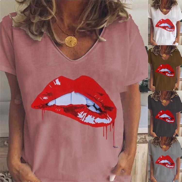 Cou à manches courtes en vrac Respirant Femme Hauts Casual solide Couleur Femme T-shirts Femmes Designer T-shirts d'été V Imprimer