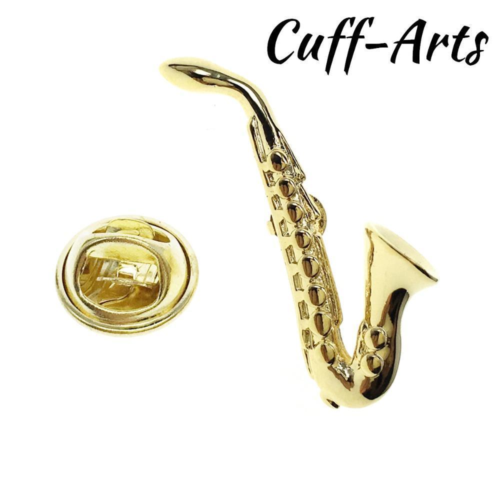 Отворот Булавка для мужчин Золотой саксофон отворот булавка гордость брошь хиджаб булавки эмаль брошь с подарочной коробке от Cuffarts P10227
