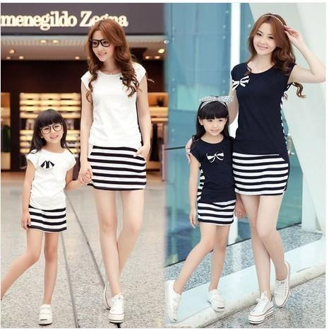 Family Fashion Summer Set Clothes For Mother And Daughter Stripe Sports Skirt Set Matching Mother Daughter Clothes Y19051103
