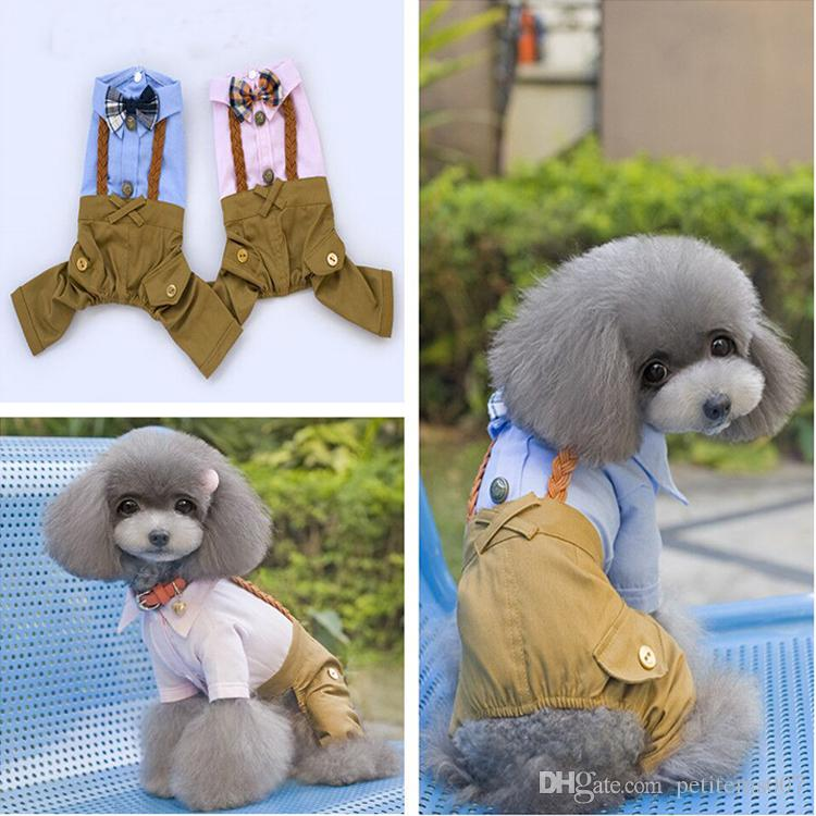 2pcs Dog clothes pet clothing spring and summer Teddy british style braided rope bib dog jumpsuits rompers pet trousers