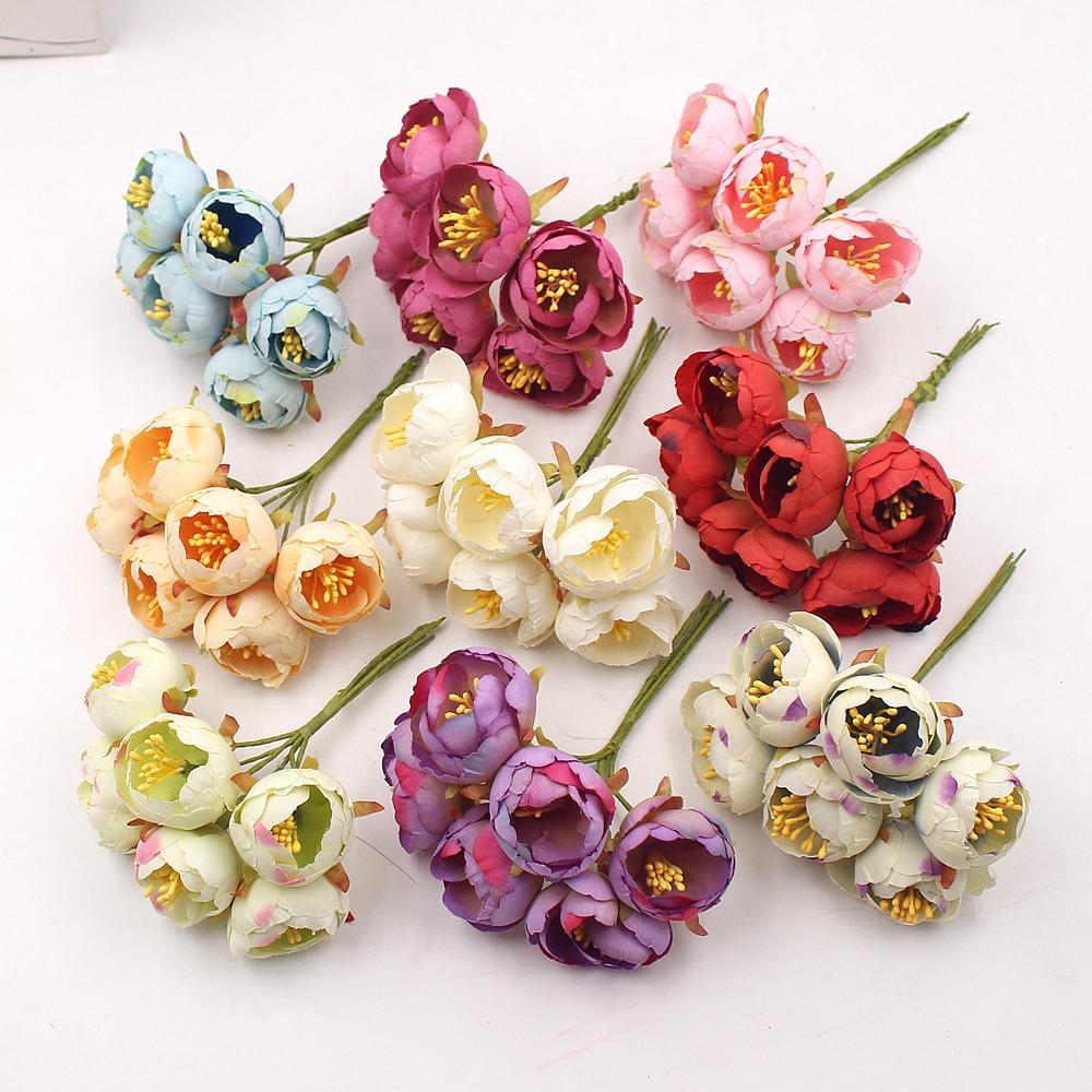 2020 6PCS / Buket Tea Rose Bud Yapay Çiçekler Düğün Noel Süsleri Home For DIY Craft Çelenk Scrapbooking Yeni Yıl