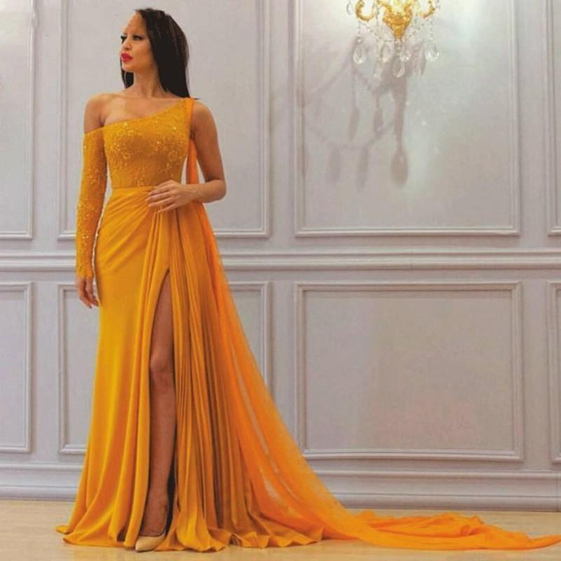 Sexy One Shoulder Side Split Prom Dresses 2020 Long Sleeves Chiffon Saudi Arabic Dubai Formal Mother Of The Bride Dress Evening Gowns