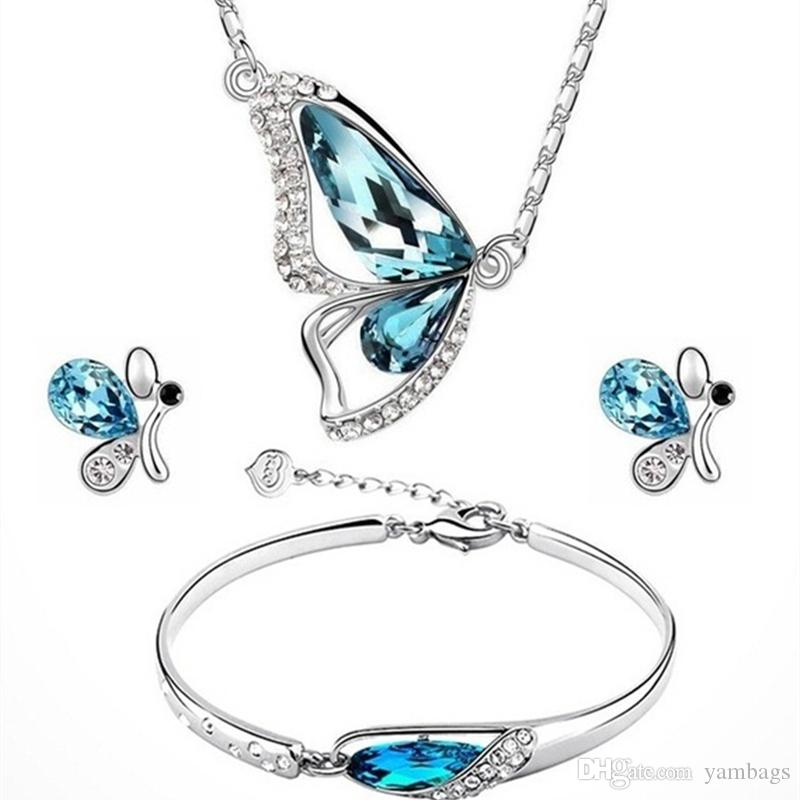 Crystal Wedding Jewelry Sets for Brides Butterfly Necklace Bracelet Stud Earrings Set Fashion Ladies Women Girls Jewellery Silver Blue Color