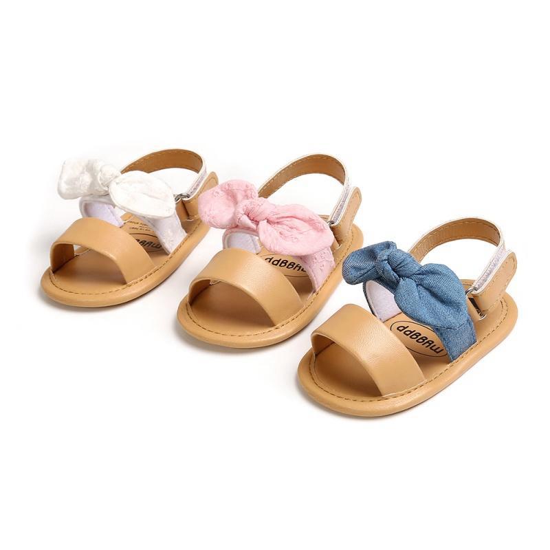 21 Chaussures bébé Sandales d'été garçons Bébés filles Lit pour bébé doux Chaussures mignon bowknot solide Volants Sandales