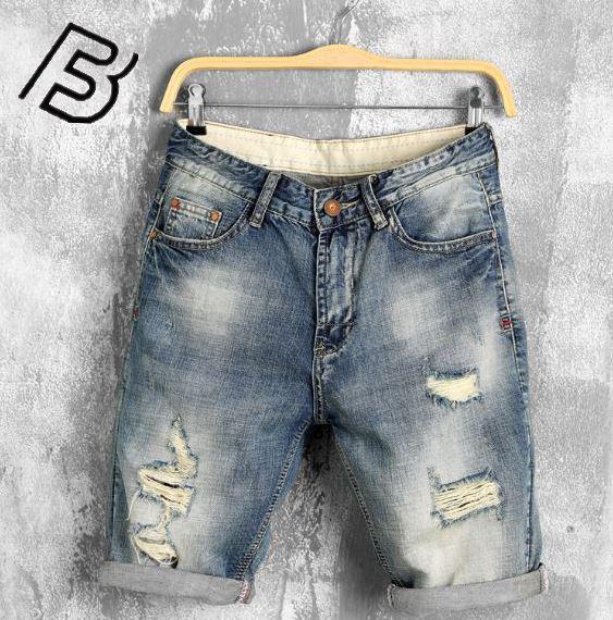 Nueva moda de ocio para hombres arrancó Jeans cortos marca de ropa pantalones cortos de verano transpirable destrozando pantalones Jogger te