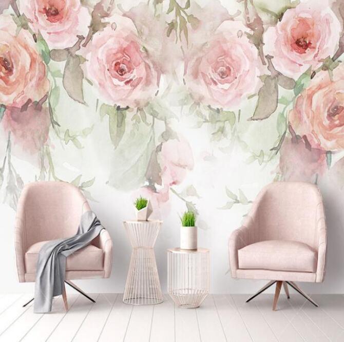 لوحة مائية وردة زهرة خلفية جدارية بابيل دي Parede 3D فلوريس خلفيات 3D خلفيات ديكور المنزل الزهور الجداريات صور