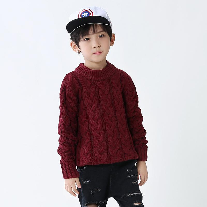 [Outages-] Autumn And Winter Middle And Large Boys' Sweater Children Knitted Pullover Korean-style BOY'S High Collar CHILDREN'S