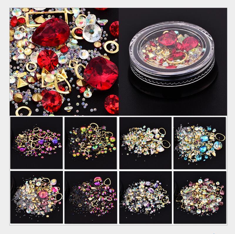 Accessoires ongles 4cm boîte noire magique couleur perceuse fond pointu + semoir à fond plat + perle fée + cercle de pierres précieuses 12 options