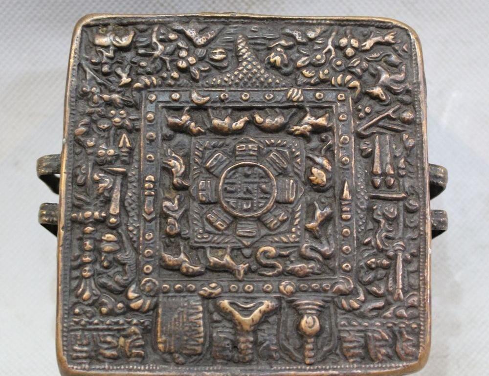 옛 티베트 불교 사원 청동 중국어 조디악 상자 동상 조각