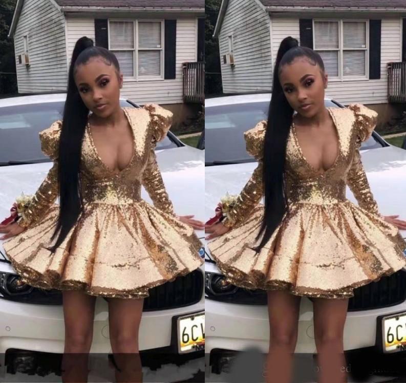 Vestidos de homenaje de lentejuelas de oro brillante con mangas largas Roble Mini falda de cóctel Graduación Dreses 2020