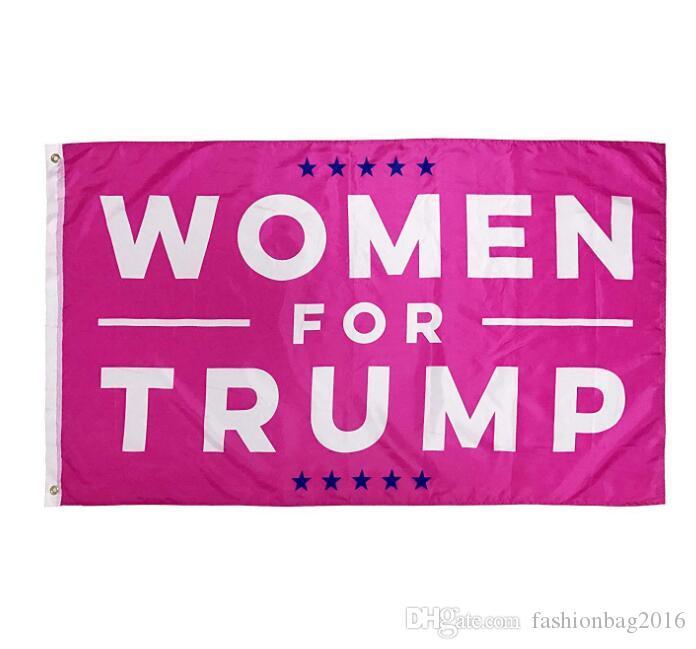 50pcs 90 * 150cm Femmes Roses pour Trump Donald Trump Drapeau USA Main Tenu Trump Rose Rendre L'Amérique Encore Grande avec USA flag