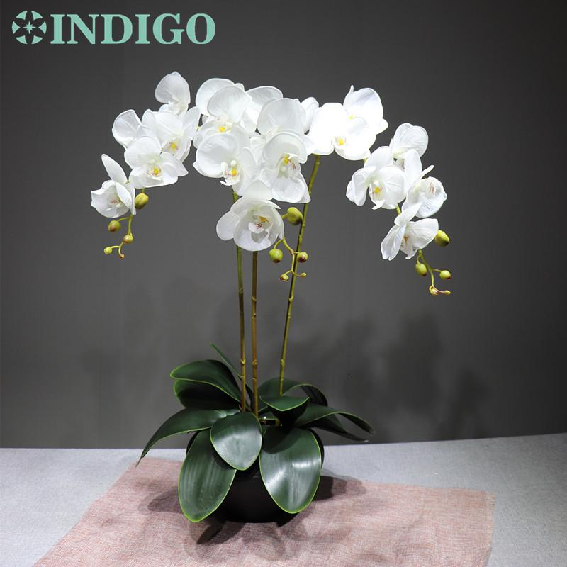 2020 Indigo White Orchid Flower Arrangment 90cm 3 Orchid 3 Leaf Real Touch Flower Wedding Party Decoration Event T191024 From Chao10 23 61 Dhgate Com