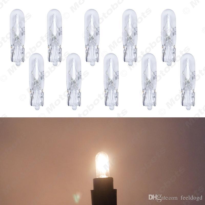 10pcs Warm White Car T5 Wedge 12V 1.2W Halogen Bulb External Halogen Lamp Replacement Dashboard Bulb Light #2933
