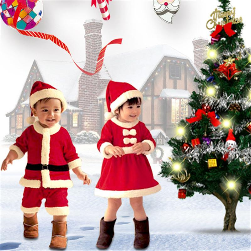 Design Christmas Costumes For Children Coat + Pants suits Santa Claus Winter Christmas High Quality Costumes Boys And Girls Suit 70-160cm