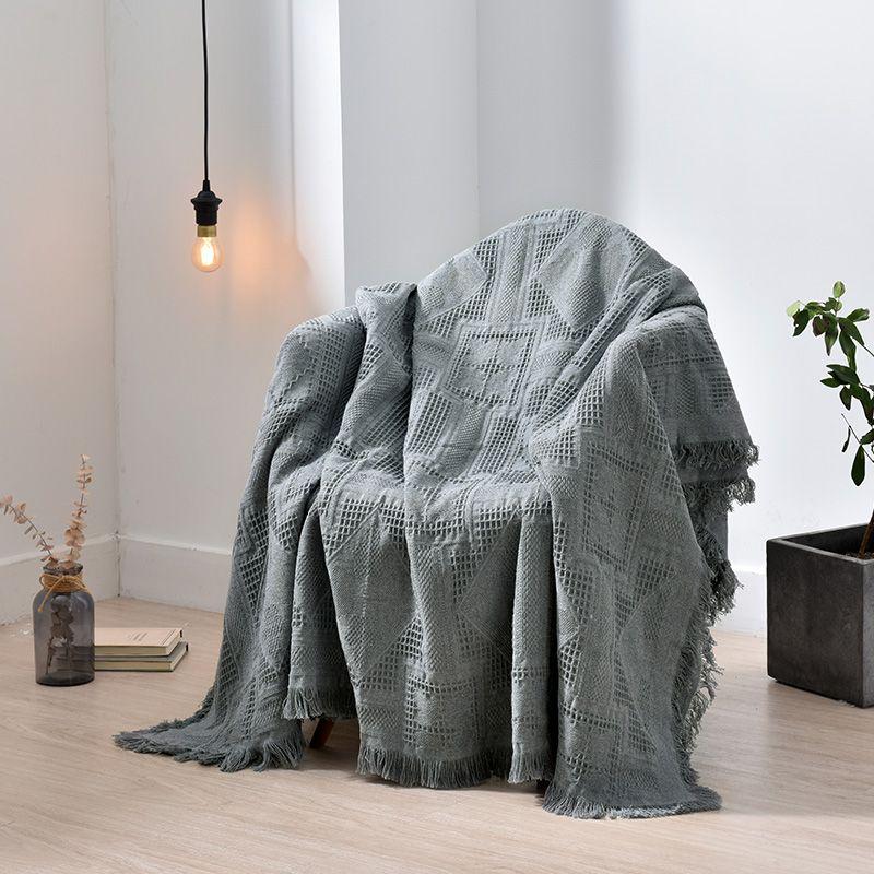 Hilo de algodón Manta Throw Plaid Tassel Sofá toalla Slipcover Manta de ocio para sala de estar Sofá Sillón Decoración del hogar