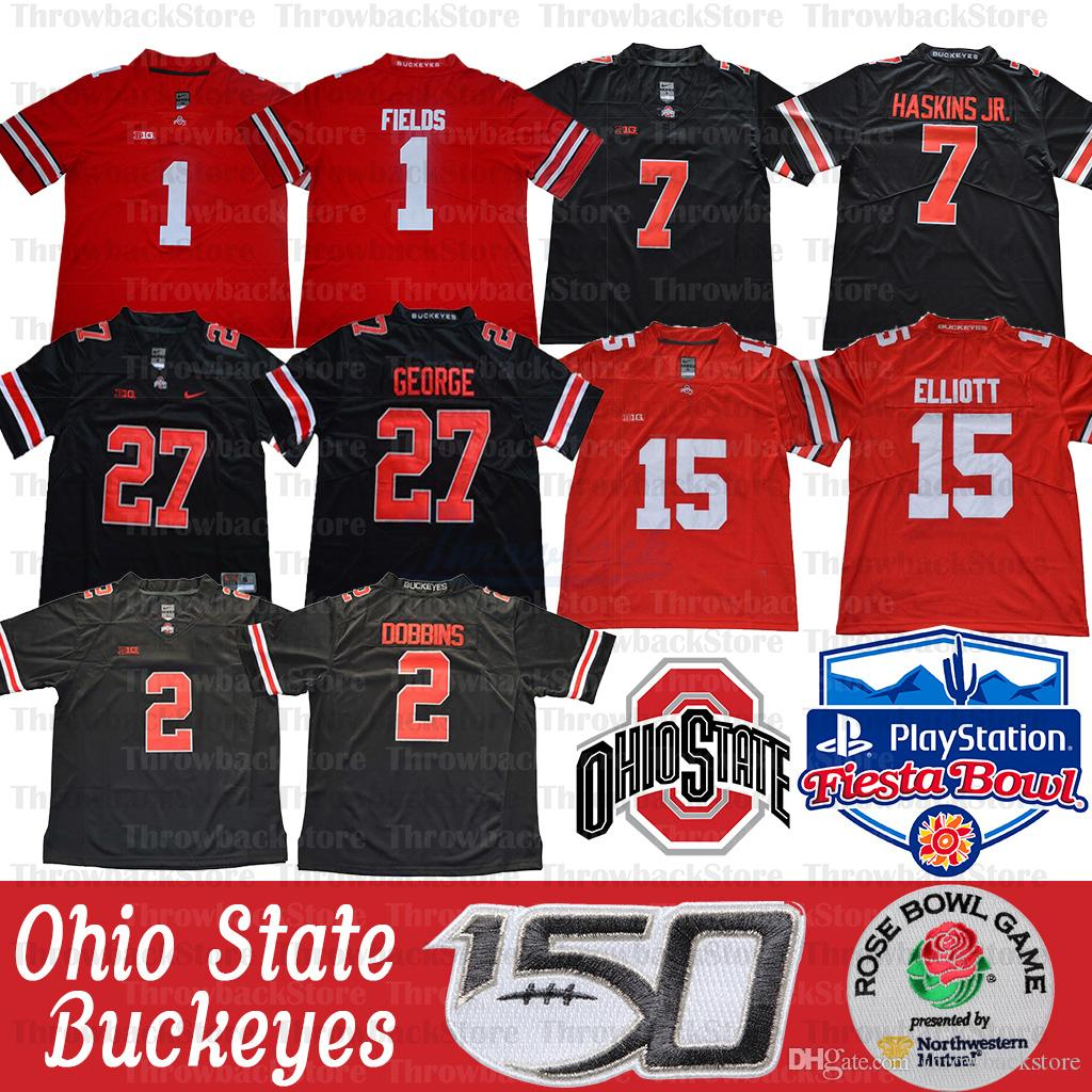 NCAA Ohio State Buckeyes Justin Fields Jersey 2 Chase Genç JK Dobbins 15 Elliott Dwayne Nick Bosa Archie Griffin Eddie George 150th Yama