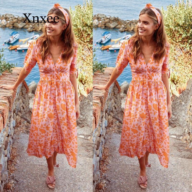 Robe longue orange Boho plage Femmes Casual Boho imprimé floral manches mi-longues robes de soirée de plage Robes d'été imprimé floral