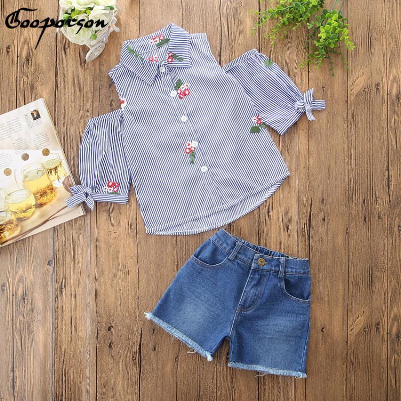Kızlar Giyim Bebek Kız Sumemr Giyim Suit Çocuk Kıyafetler için Mavi Çizgili İşlemeli Çiçek Bluz Gömlek ve Kot Şort