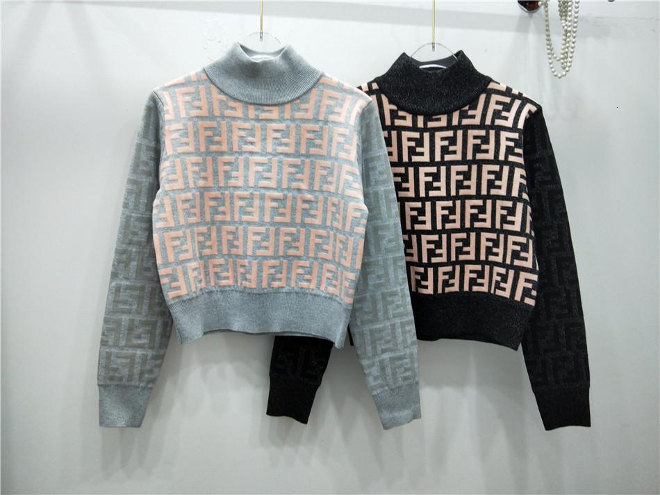 품질 현물 금과은 스레드 울 혼방 하프 높은 칼라 2019 겨울 여성 스웨터 배꼽 짧은 스웨터 긴 소매