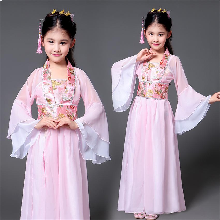 어린이를위한 중국어 의류 고대 중국의 전통 의상 여자 무대 댄스 공연 드레스 여성 민속 요정 의상 Tangsuit