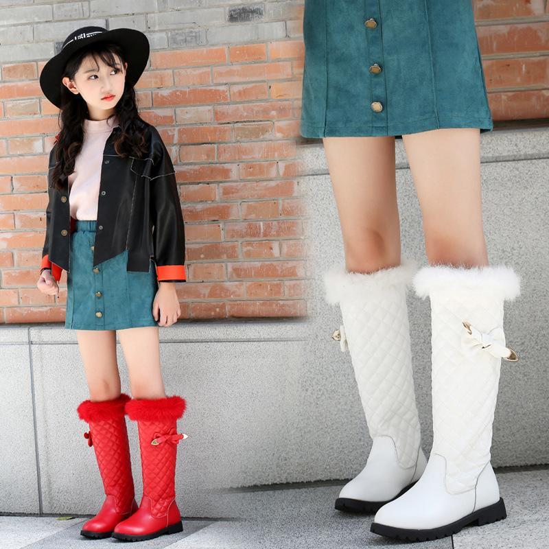 Kids Knee High Boots Girls Real Fur