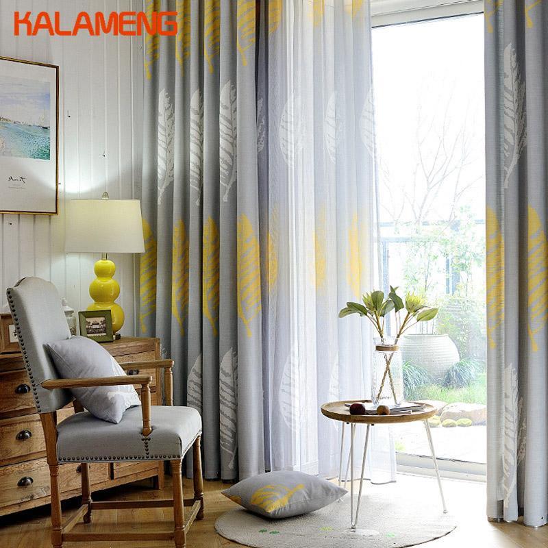 Moderne Rideau Salon Chambre Ombre Feuille Tentures pour Hôtel Rideaux Feuilles Gris Jaune Custom Made Accueil Noren AXY8015