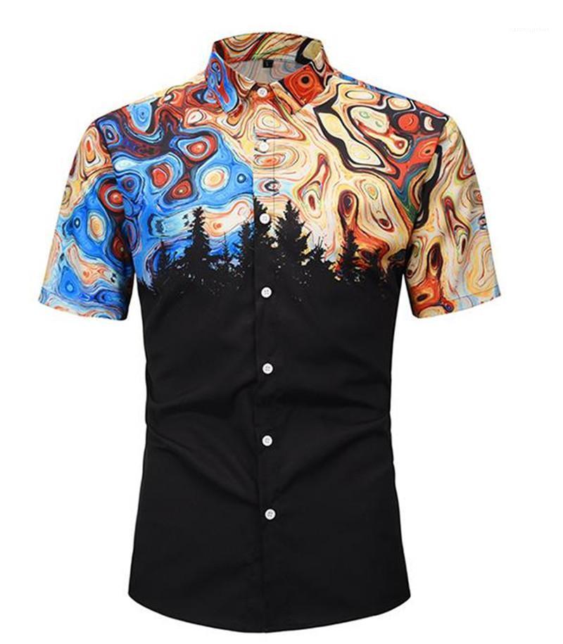 2020 luxe Shirts Designer Imprimer Hommes Mode Chemises lambrissé couleur Chemises à manches courtes en vrac Hommes