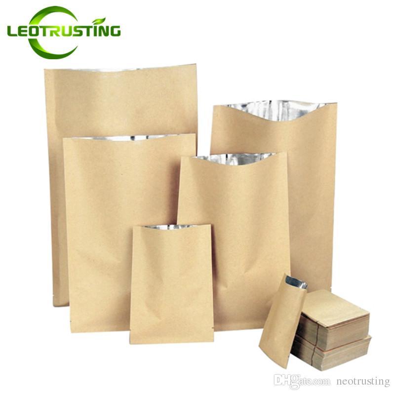 Leotrusting 100pcs/lot Kraft Paper Heat Sealed Packaging Bag Thick Barrier Food Powder Vacuum Bag Open Top Heat Sealing Paper Bag