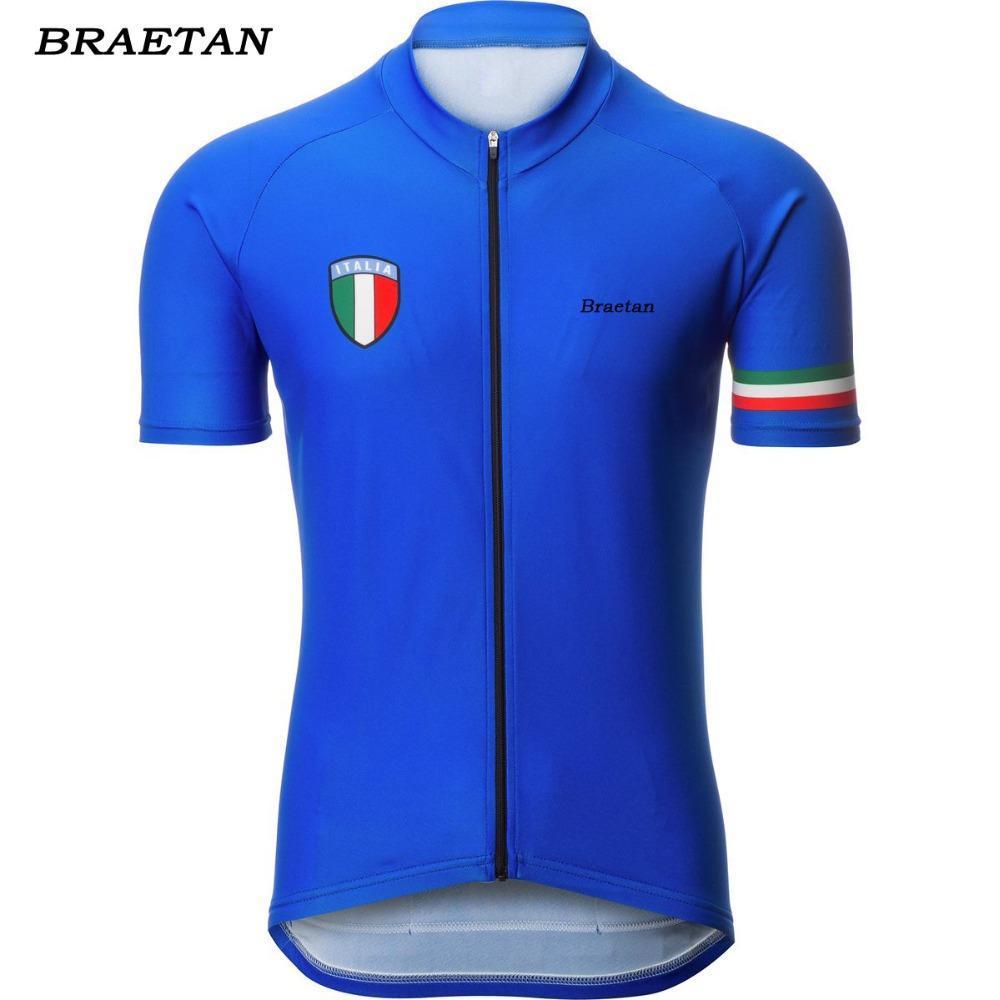 2018 italia vélo hommes jersey été vêtements de vélo de course usure cyclisme vêtements courts bleu vêtements hombre de braetan
