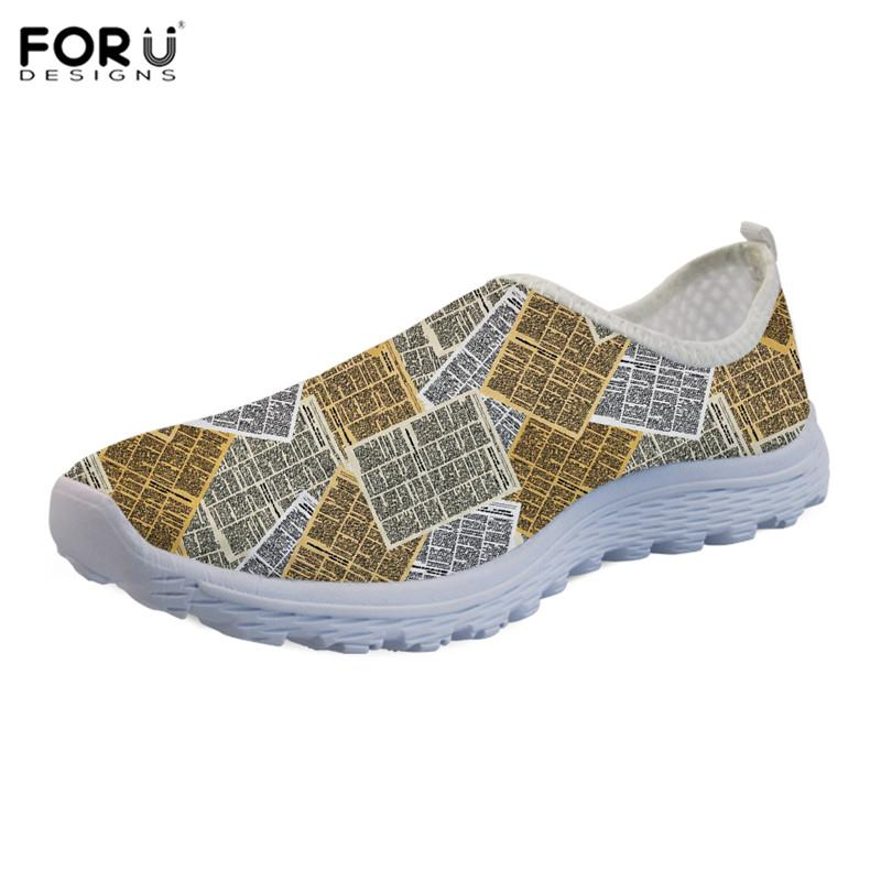 FORUDESIGNS Summer Women Sneakers Flat Shoes Newspaper Printed Harajuku Slipper Casual Anti-Skid Sandals Female Scarpe Donna