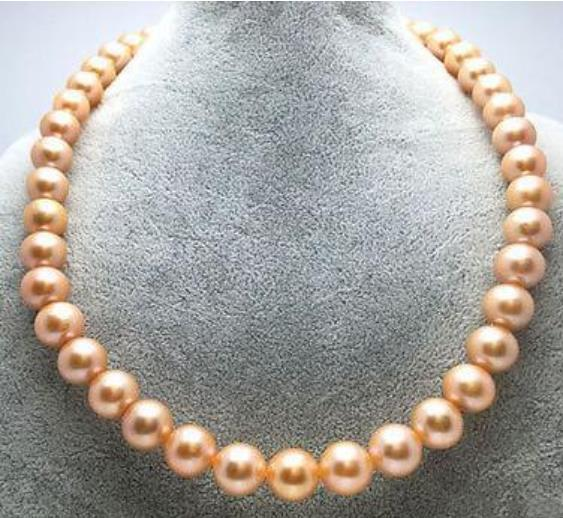 10-11mm Южных морей Золотой Розовый Жемчужное ожерелье 18inch бисера ожерелья 14k золото Застежка