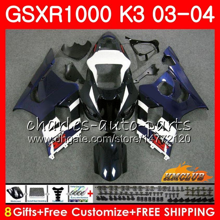 Marco para Suzuki GSX-R1000 GSXR 1000 GSXR1000 03 04 Cuerpo 15HC.95 Carrocería GSX R1000 K3 GSXR-1000 03 04 2003 2004 Failings Kit Factory Blue