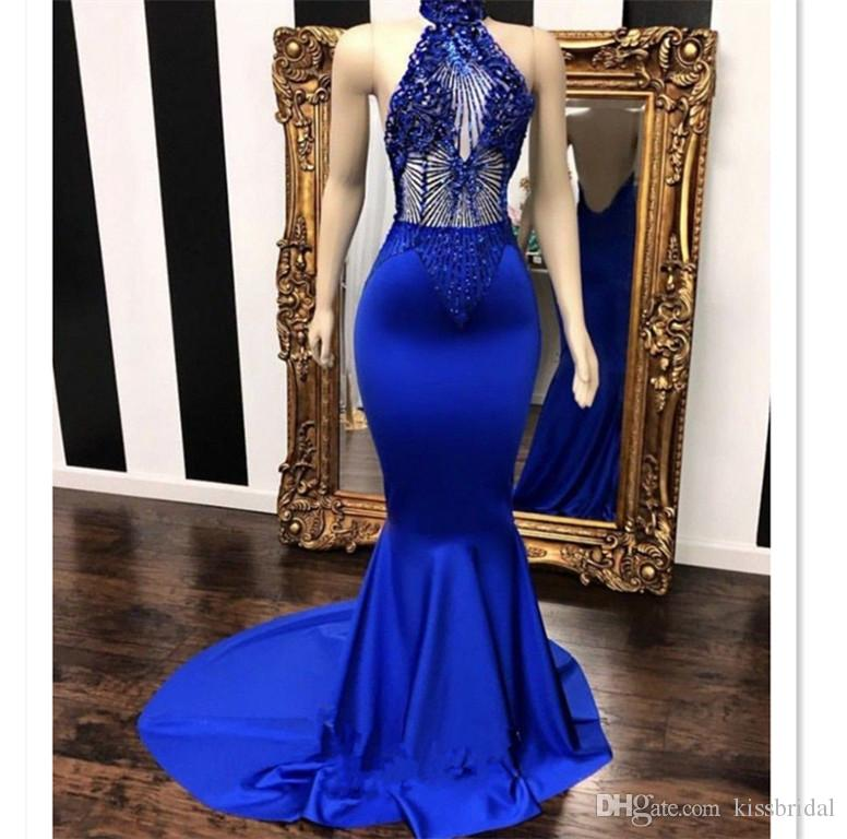Blue Mermaid Prom Dresses 2019 Beaded Halter Neckline Open Back Formal Evening Gowns Sheer Crystal Rhinestone Cocktail Party Ball Dress