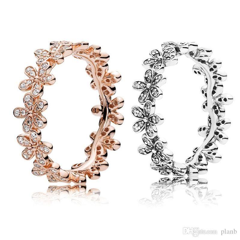 Or rose 18 carats \ Argent Dazzling Daisy Meadow Bague superposable boîte originale pour Pandora 925 anneaux concepteur en argent sterling Set