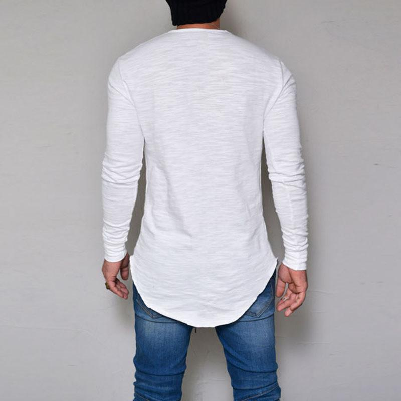 Lustige Farbe Hemden Langes Hemd T Top Kleidung Baumwolle Hemden Tshirt Männer Streetwear T Slim Fit Fitness Feste Hülse T-Stück Lässige Mens Ghknw