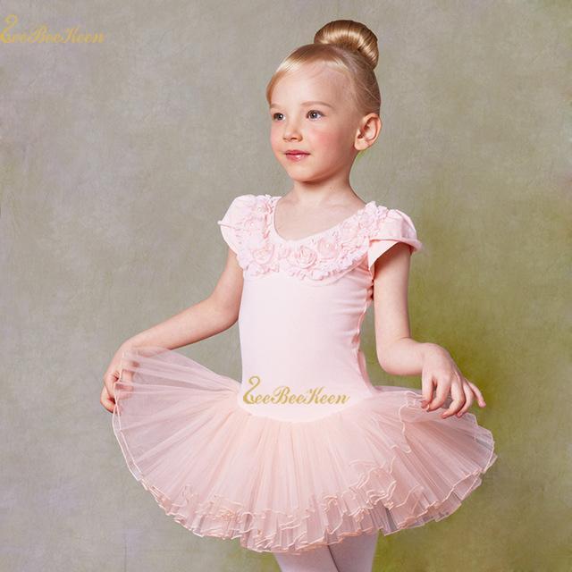 분홍색 / 흰색 발레 투투 댄스 복장 2 ~ 9 년 여자 코튼 레오타드 어린이 전문 투투 발레 댄스 발레리나 의상 키즈