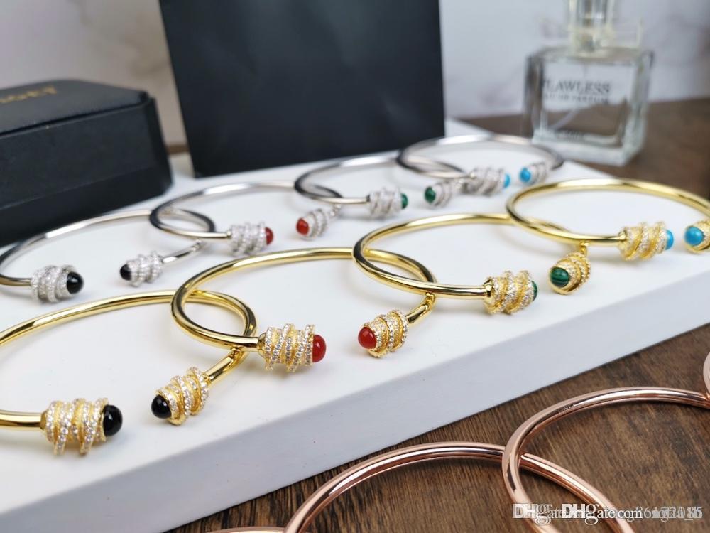 Designer nuovo braccialetto elastico gemma bracciale Earl Colore di pietra Bracciale agata Rubino Malachite 2019 Accessori di lusso