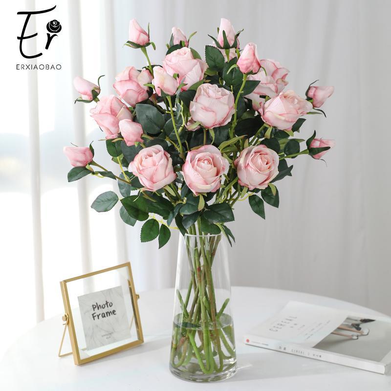 Erxiaobao 66 см 2 головки Шелковый Белый Pin Красный Синий Зеленый Искусственные цветы розы Поддельные цветы Осень украшения для дома свадьбы