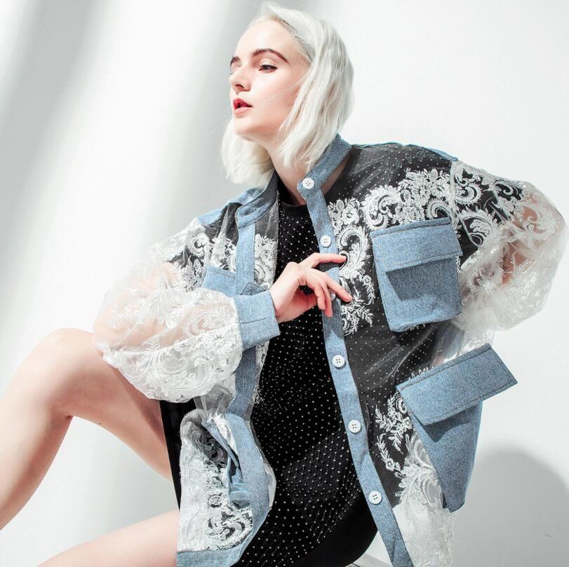 Broderie Denim Patchwork Veste manches longues Bouton Perspective Manteau Femme Mode 2019 Porter Perspective Summer Sun Manteau w519