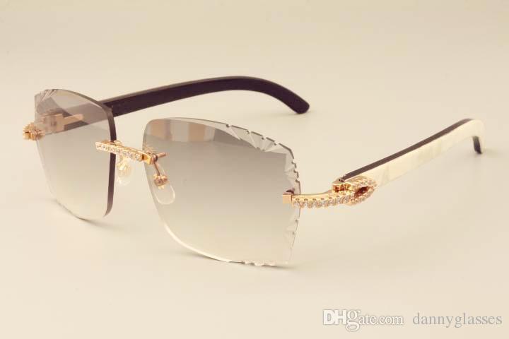 2019 yeni fabrika doğrudan lüks moda elmas güneş gözlüğü 3524014 doğal karışık boynuzları bacakları ayna güneş gözlüğü oyma mercek özel özel